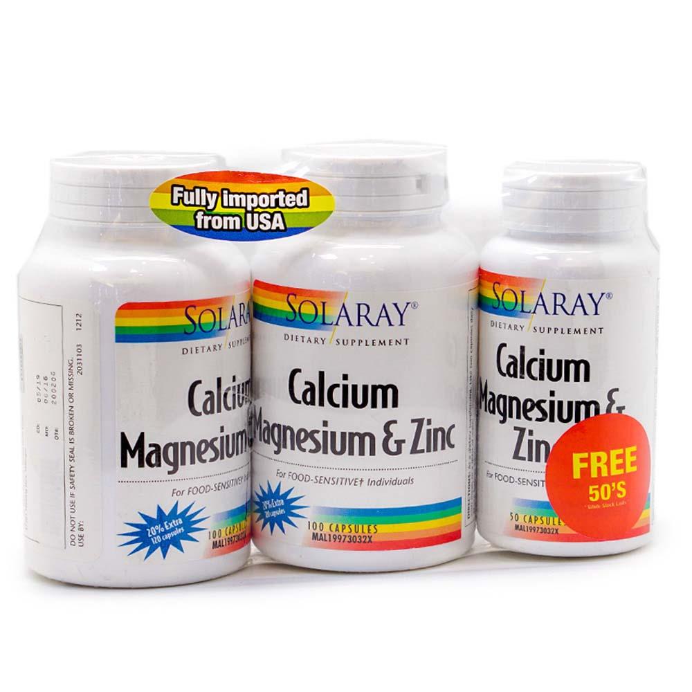 Health Shop Solaray Calcium Magnesium Zinc 2 X 100s Foc 50s