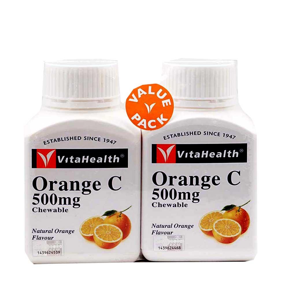 Vitahealth Orange C 500mg Chewable Tablets 2 x 100s